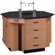 4-Student Octagon Island Table with Sink (Epoxy Top)