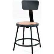 NPS Metal Lab Stool with Backrest, Black Frame (18