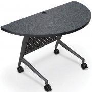 Half Round Trend Fliptop Training Table, Black Frame (48x24)