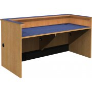 Double-Width Patron Desk with Recessed Worksurface