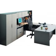 Bow Front Left U Desk with Hutch