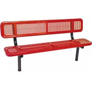 6' Team Bench with Back Perforated Surface