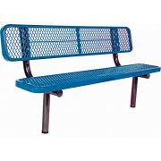 Six Ft Team Bench with Back, Diamond Cut Surface