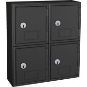 Cell Phone Lockers - Black Frame, 4 Doors, Keyed Lock