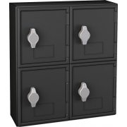 Cell Phone Lockers - Black Frame, 4 Doors, Hasp Lock