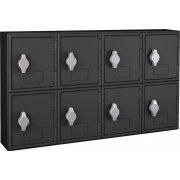 Cell Phone Lockers - Black Frame, 8 Doors, Hasp Lock