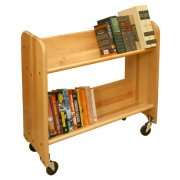 Wood Book Cart - 2 Tilted Shelves in Birch