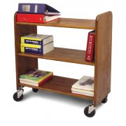 Wood Book Cart - 3 Level Shelves in Walnut