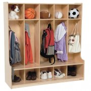 5 Section Wood Locker with Offset Edge 48