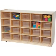 Mobile Cubby Storage w/ 20 Clear Cubby Bins