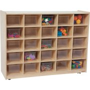 Mobile Cubby Storagew/ 25 Clear Cubby Bins
