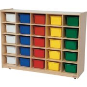 Mobile Cubby Storage w/ 25 Colored Cubby Bins