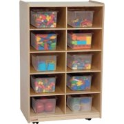 Vertical Mobile Cubby Storage w/ 10 Colored Cubby Bins