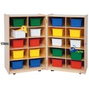 Folding Mobile Cubby Storage w/ 20 Colored Cubby Bins