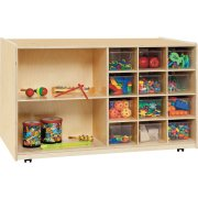 Double-Sided Classroom Cubby Storage w/ Clear Cubby Bins