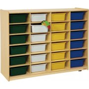 Mobile Cubby Storage w/ 24 Colored Cubby Bins