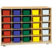 Double-Sided Cubby Storage - 25 Color Cubby Bins, 3 Shelf