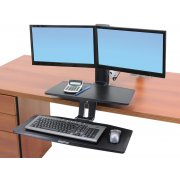 Sit/Stand Monitor Arm with Suspended Keyboard -Dual LD