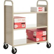 Flat-Shelf Book Cart, 3 shelves