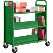 Double Sided Bottom-Sloped Book Cart