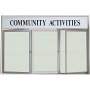 Weatherproof  Enclosed Vinyl Board 3 Door w/Header (6'x3')
