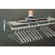 Aluminum Wall Mounted Coat Rack with Hat Shelf (7')
