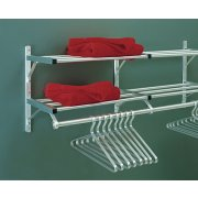 Aluminum Wall Mounted Coat Rack with 2 Hat Shelves (6')