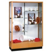 Heritage Trophy Cabinet in Oak wtih Mirror (48