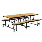 Fixed-Bench Cafeteria Table Particleboard Core Vinyl Edge (8')