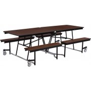 Fixed-Bench Cafeteria Table Plywood Core Protect Edge (8 ft)