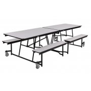 Fixed-Bench Cafeteria Table Particleboard Core Vinyl Edg (10')