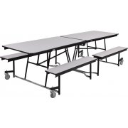 Fixed-Bench Cafeteria Table Plywood Core Vinyl Edge (10')