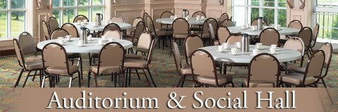 Enjoy functional, elegant furniture for your auditorium and social hall.