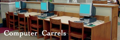 Computer carrels create a private study space in the school library or lab.