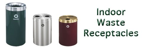 What kinds of trash cans and recycling bins are meant for indoors?
