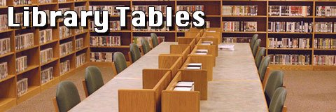 Provide a cozy study space with some attractive wooden library tables.