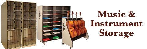 Instrument and sheet music storage will keep your practices, performances and rehearsals running smoothly.