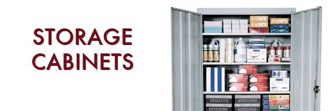 Storage cabinets in a selection of sizes, colors and styles to keep your supplies organized right where you need them.