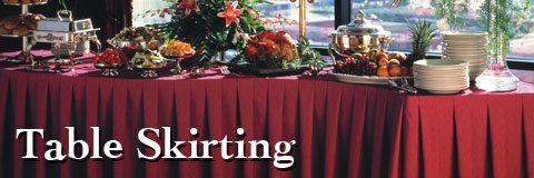 Enhance the appearance of your banquet hall or multipurpose room with table skirts for special events.