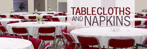 Choose from elegant banquet table linens in a selection of colors, sizes and fabrics.