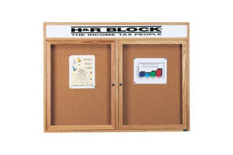 Wood Framed Enclosed Cork Boards with Header by Aarco