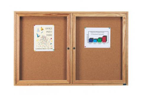 Wood Framed Enclosed Cork Boards by Aarco