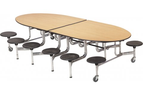 Mobile Oval Stool Cafeteria Tables
