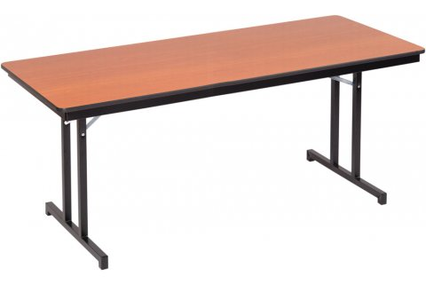 Rectangular Plywood Core Folding Tables Double T Leg