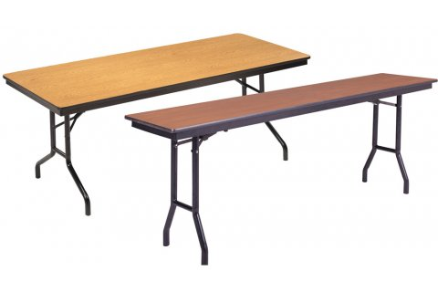 Rectangular Plywood Core Folding Tables Wishbone Legs