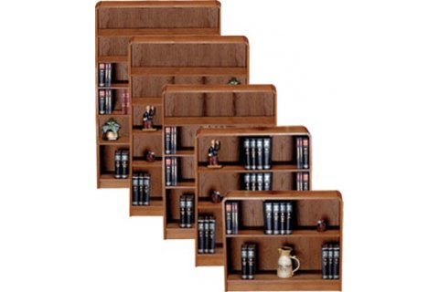 Radius Edge Veneer Bookcases with Steel Reinforced Shelves