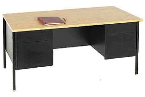 Steel Leg Double Pedestal Teachers Desk