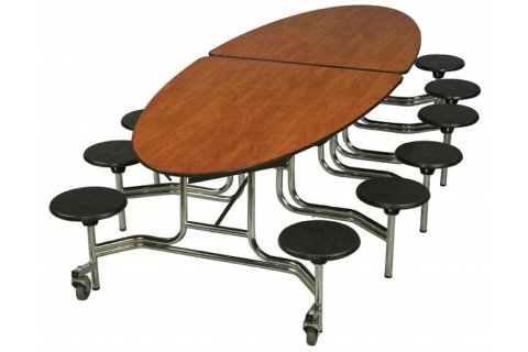 Oval Cafeteria Tables Stool Units