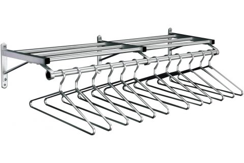 Value-Line Wall-Mounted Coat Racks with Shelf & Hangers by Glaro