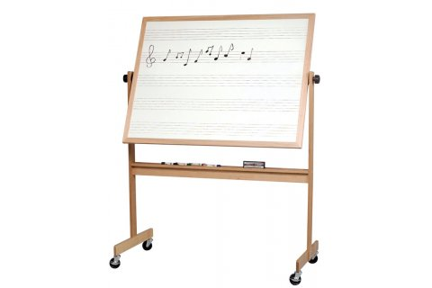 Reversible Porcelain Music Markerboard Wood Frame